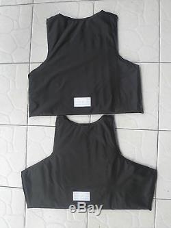 Gilet De Combat Tactique Noir Pare-balles Souple Iiia + 2pcs III Plaques En Céramique