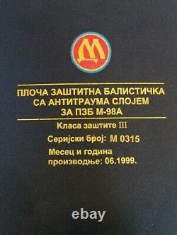 Mile Dragic Deux Plaques Balistiques De Protection Classe III Avec Couche Antichoc M-98a