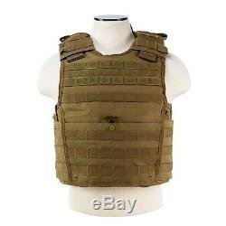 Ncstar Tan Plate Expert Carrier & 2 11x14 Shooters Cut Uhmwpe Plaques De Protection Balistique