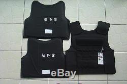 Nouveau Gilet Pare-balles Doux De Combat Noir Tactique Iiia + 2pcs III Plaques En Céramique