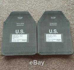 Paire De Deux Medium 9.5x12 Armure De Corps Esapi Courbe De Niveau III + Plaques