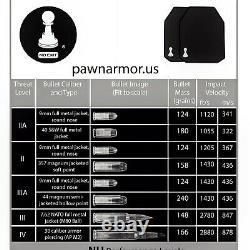 Plaques À L'épreuve Des Balles Armure De Pions 10 X 12 Pouces Lumière Douce Uhmwpe 3a III A (paire)