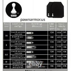 Plaques Latérales Bulletproof Niveau Iii+ Pawn Armor 8x6 Courbe Simple Pe & Céramique-set
