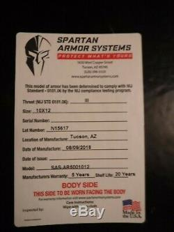 Spartan Ar500 Niveau III Corps Armure & Plaque Support