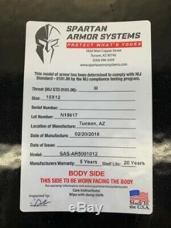 Spartan Armurerie Systems Corps Ar500 Armure Niveau III Avec Des Plaques