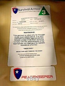 Survie Armure Niveau 3 Stab Résistant Body Armor Bullet Proof Vest Avec Plaque C-1