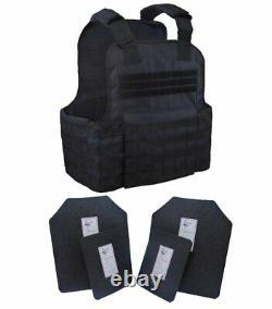 Tactical Scorpion 4pc Niveau Iii+ / Ar500 Body Armor Plates 11x14 Gilet Muircat