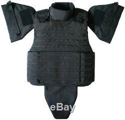 Taille XXL Niveau III Corps Gilet Armure Avec Inserts Souples Dans Le Col, La Couleur Noire