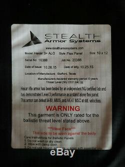Tout Neuf! Inutilisé! Furtivité Armure Systèmes Hexar 3+ (iii +) Alo 10x12 Panneau